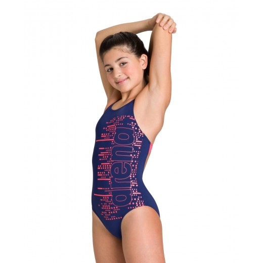 Arena Little Stars V Back One Piece Swimsuit Junior Navy/Fluo Red-33