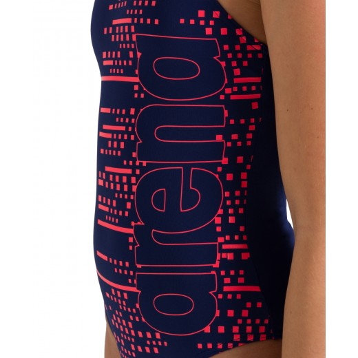 Arena Little Stars V Back One Piece Swimsuit Junior Navy/Fluo Red-03