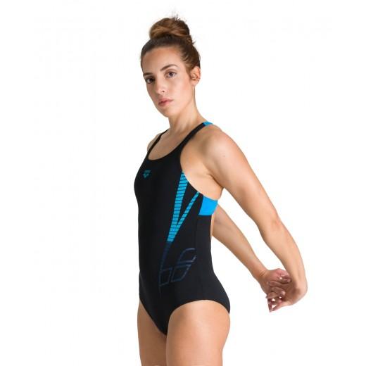 Arena Badedragt Shiner Swim Pro Back One Black/Turquoise Dame-32