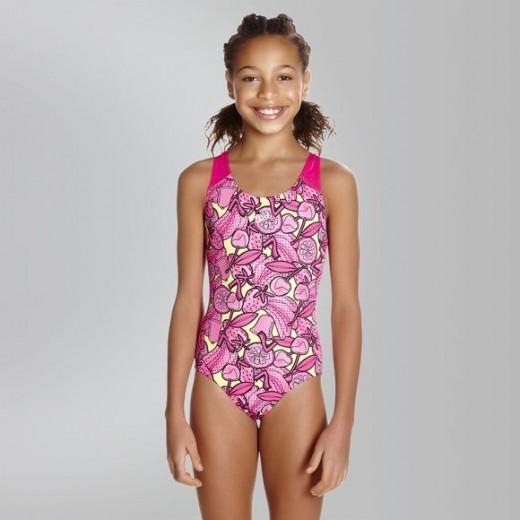 SPEEDO Comet Crush Splashback Swimsuit Barn/Ung Pink/Lime-01