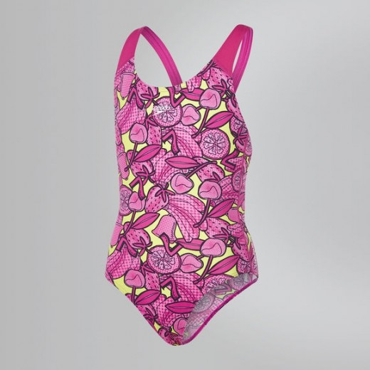 SPEEDO Comet Crush Splashback Swimsuit Barn/Ung Pink/Lime-31