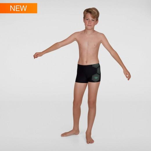 Speedo Aquashort badebuks Black/Green Junior-31