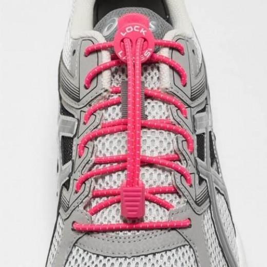 Lock Laces Elastik Snørebånd Hot Pink-03