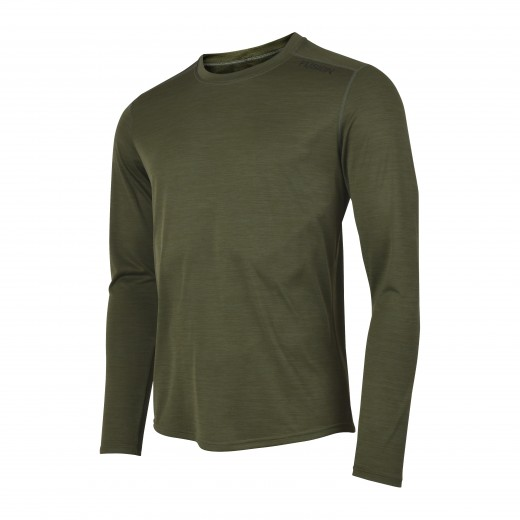 Fusion C3 Herre LS Shirt Green-Melange-31
