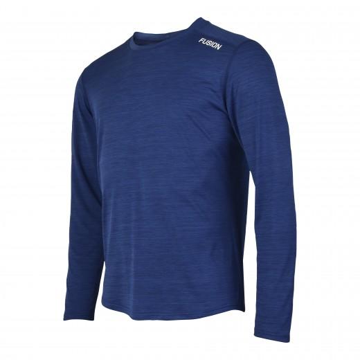 Fusion C3 Herre LS Shirt Blå-Melang-31