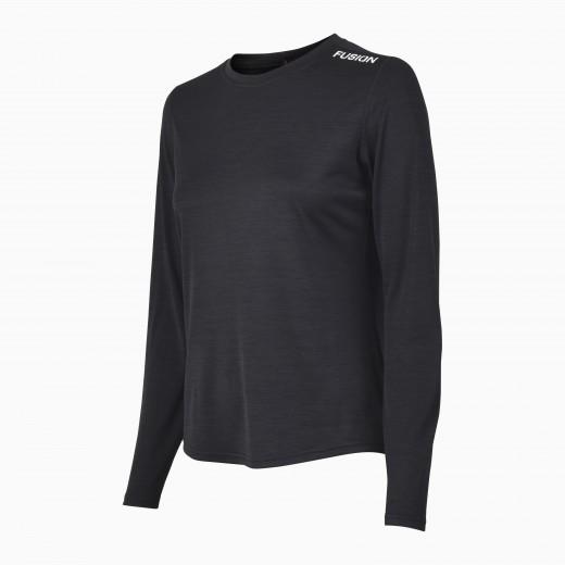 Fusion C3 Dame LS Shirt Sort-Melang-31