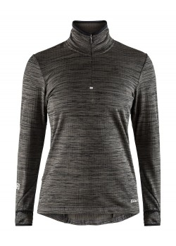 Craft Grid Halfzip Dame Black Melange-20