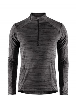 Craft Grid Halfzip Herre Black Melange-20
