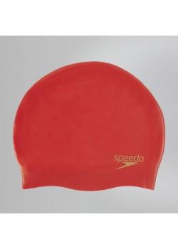 Speedo Plain Silicone Badehætte Voksen Rød-20