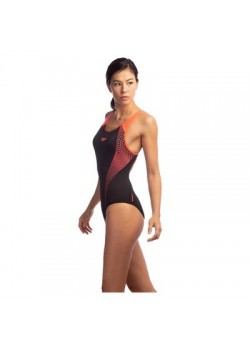 Speedo Badedragt Placement Laneback Black/Phoenix Red-20