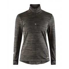 Craft Grid Halfzip Dame - Black Melange